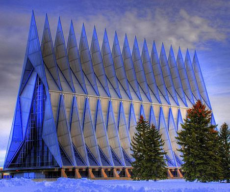Air Force Academy Chapel. Colorado Springs, Colorado. Walter Nesch. The repeating triangular shape is similar to the shape of a propeller blade. I like the steel blue color against the white snow.