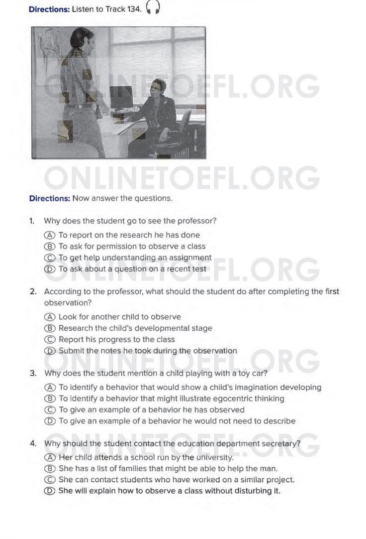 Aşağıda TOEFL sınavı online hazırlık kursu uzmanı Dr. Hikmet Şahiner ile TOEFL hazırlık kursu online deneme listening test soruları test 2 listening part 1 soruları bulunmaktadır.