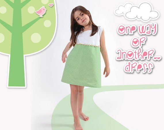 Handmade reversible girls' dress // Pink to checkers by LaLoOLa