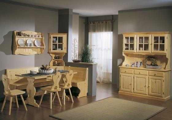 Soggiorno o taverna completa in legno massello composto da Giropanca ...