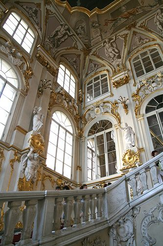 """Inside the Hermitage Museum, St Petersburg, Russia. """"Neo-Grecian"""" style. The surfaces of the facades are ornamented in Baroque and Renaissance motifs. Carvings done by sculptor Terevenev."""