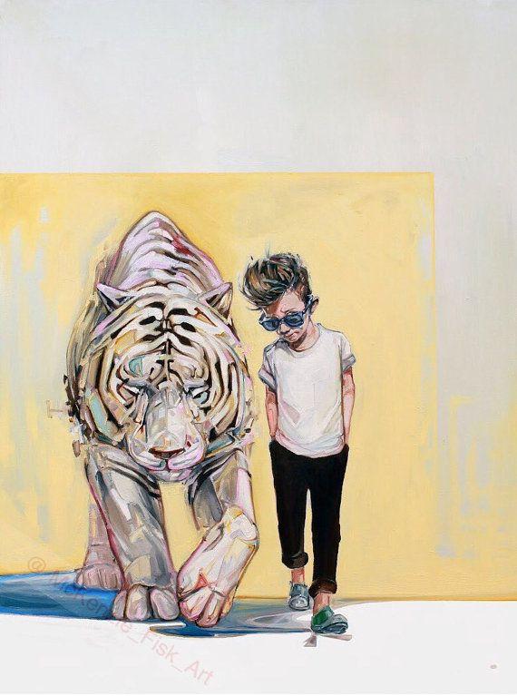 Tiger illustration - Modern wall art - surrealism print - fine art print - living room decor - nursery decor - Little James Dean