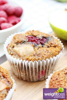 Healthy Muffins Recipes: Low Fat Pear & Raspberry Muffins. #HealthyRecipes #DietRecipes #WeightlossRecipes weightloss.com.au