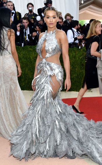 Luxe Red Carpet | Rita Ora in sheer and silver feather gown | Met Gala 2016 | The Luxe Lookbook