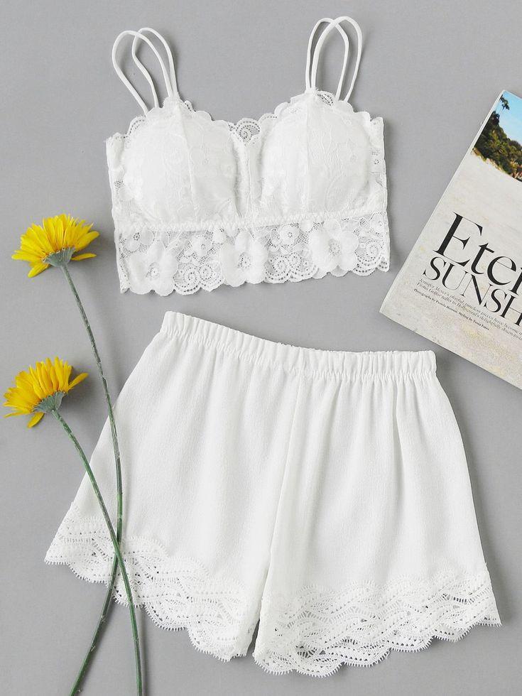 Loungewear by BORNTOWEAR. Floral Lace Overlay Scallop Trim Pajama Set