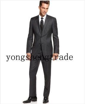 abiti da uomo grigio scuro vestito degli uomini 2 bottoni monopetto notch laple posteriore a doppio sfiato ms0212