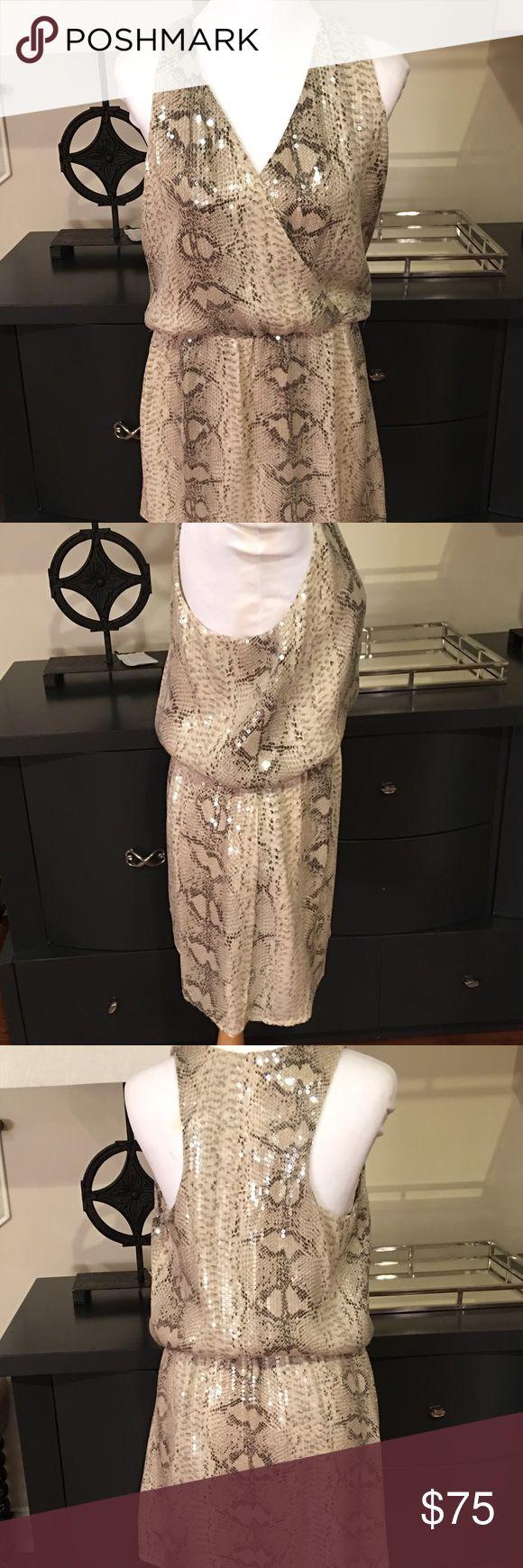 Parker Animal Print Sequin Dress Brand new. Does not appear to have been worn. V neck line, all over Sequin embellishments Parker Dresses