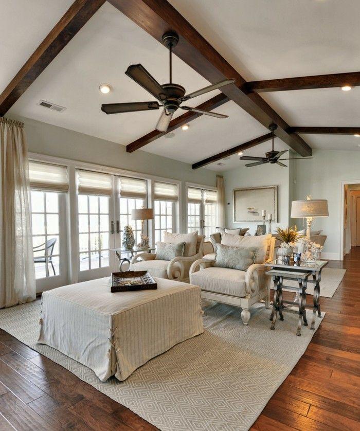 Inspirational einrichtungsideen die decke im wohnzimmer mit h lzernen balken gestalten