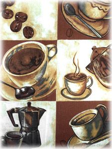 Set 4 Piece Coffee Placemats Espresso Latte Decor Table