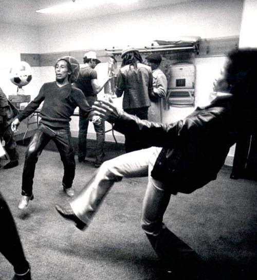Bob Marley and Jimi Hendrix playing soccer backstage before a show. via Reddit.