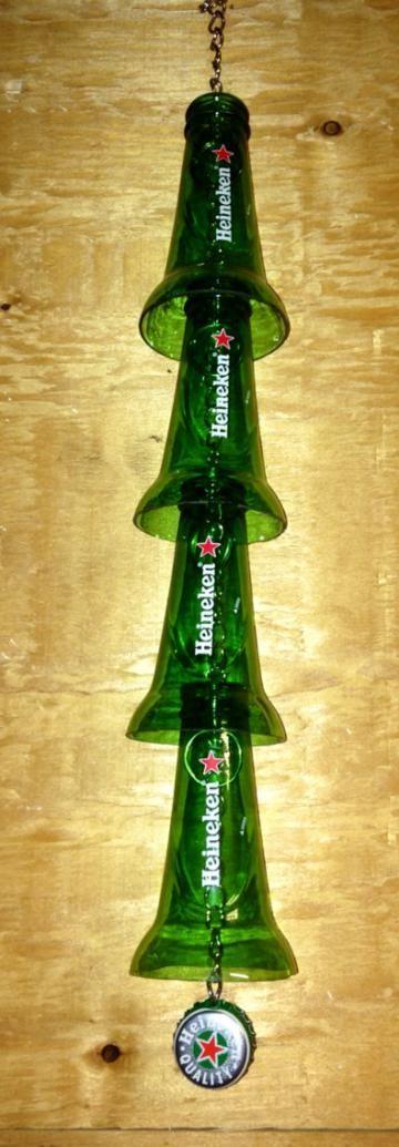 Heineken Beer Bottle Windchime. Recycled Glass Bottles. Green Glass. Outdoor Decor. by RandomCraftsBySundee for $25.00