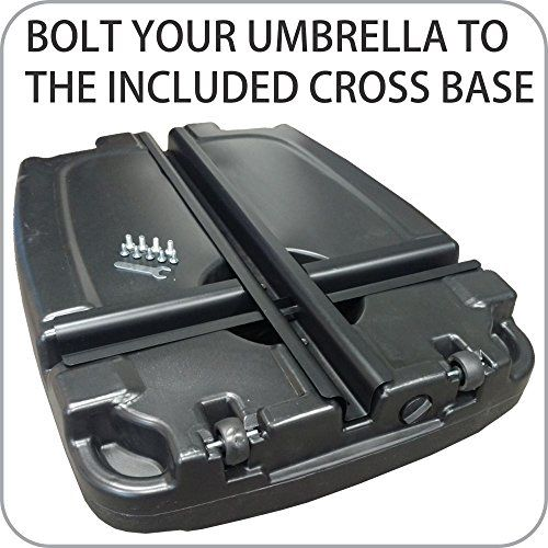 EasyGoProducts Universal Offset Umbrella Base Weight Capacity – Plastic Weighted Stand – Fill with Water or Sand, Black, 60 L  Universal umbrella water base that works for any umbrella that uses a conventional flanged cross brace base. Easy fill/drain openings – wheeled base for easy moving. Can be filled with water or sand so that plates provide additional weight required to improve umbrella stability in windy conditions. 60 liter capacity – 15.85 gallons – 135 pounds weight if fill..
