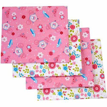 Make your own fairy godmother-approved nursery. Snuggle your baby in super-soft sweetness with this four pack of 100% Cotton flannel  receiving blankets featuring Cinderella! Two blankets feature a pretty floral pattern on white; the other two feature a pattern of pumpkin carriages and glass slippers on pink. Coordinates with the full line of Cinderella Once Upon a Time nursery bedding and décor.