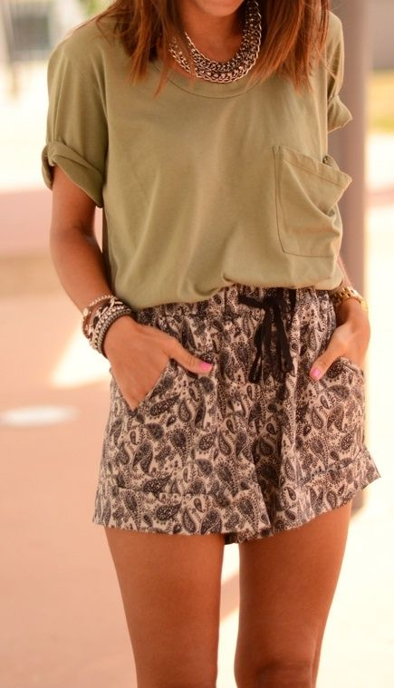 Love this combo! Loose shirts and cute shorts always work!