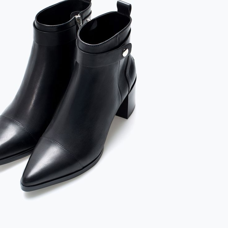 Image 6 of High heel pointed leather booties from Zara