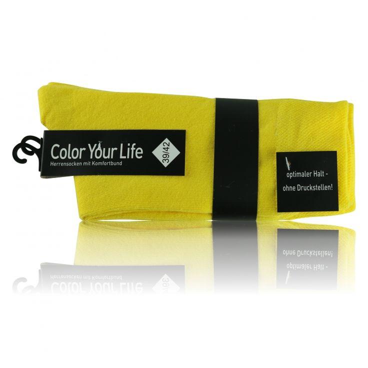 Gelbe Herrensocken ohne Gummidruck - sunny days - 2 Paar