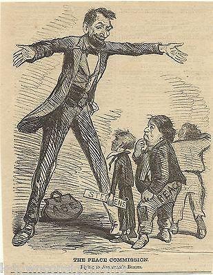 Abraham Lincoln Civil War Reconciliation Antique Engraving Cartoon