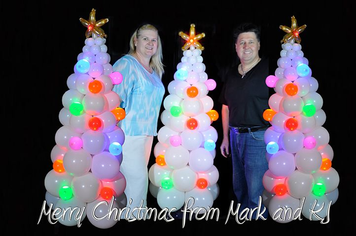 Mark and I in our Balloon Christmas Tree forest all Sparkled Up, with Party Dots.