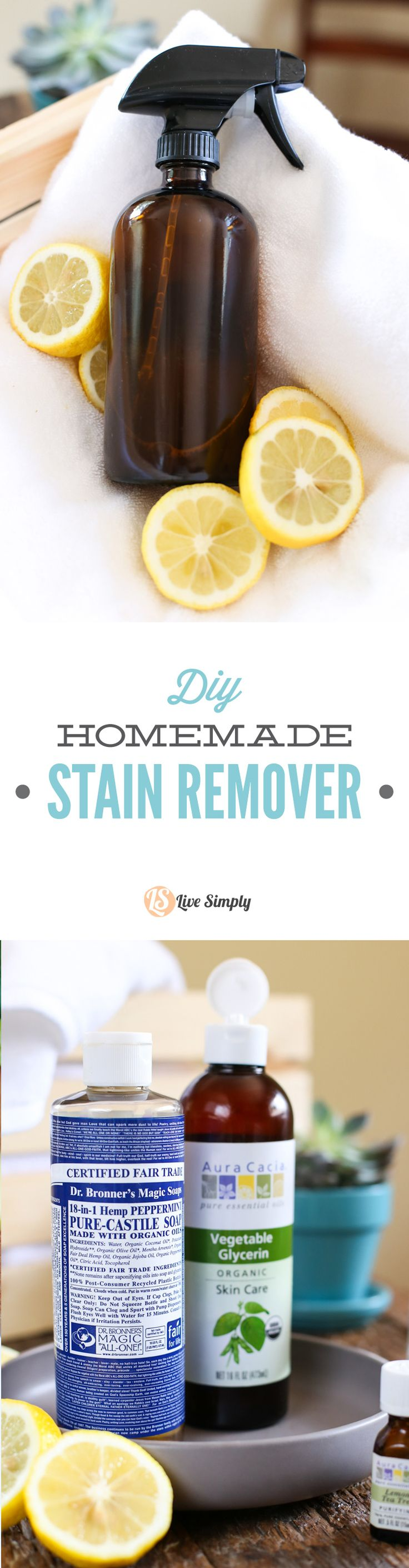 A super easy to make homemade stain remover! This DIY stain remover is made with 100% natural ingredients. AMAZING before and after photos including pen, carrot juice, and ketchup. http://livesimply.me/2015/07/11/diy-homemade-stain-remover-clothes-stains/