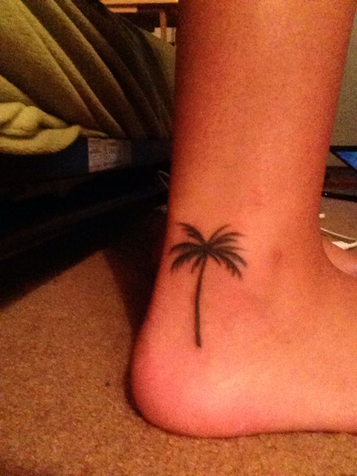 Palm tree small ankle foot tattoo beach nautical