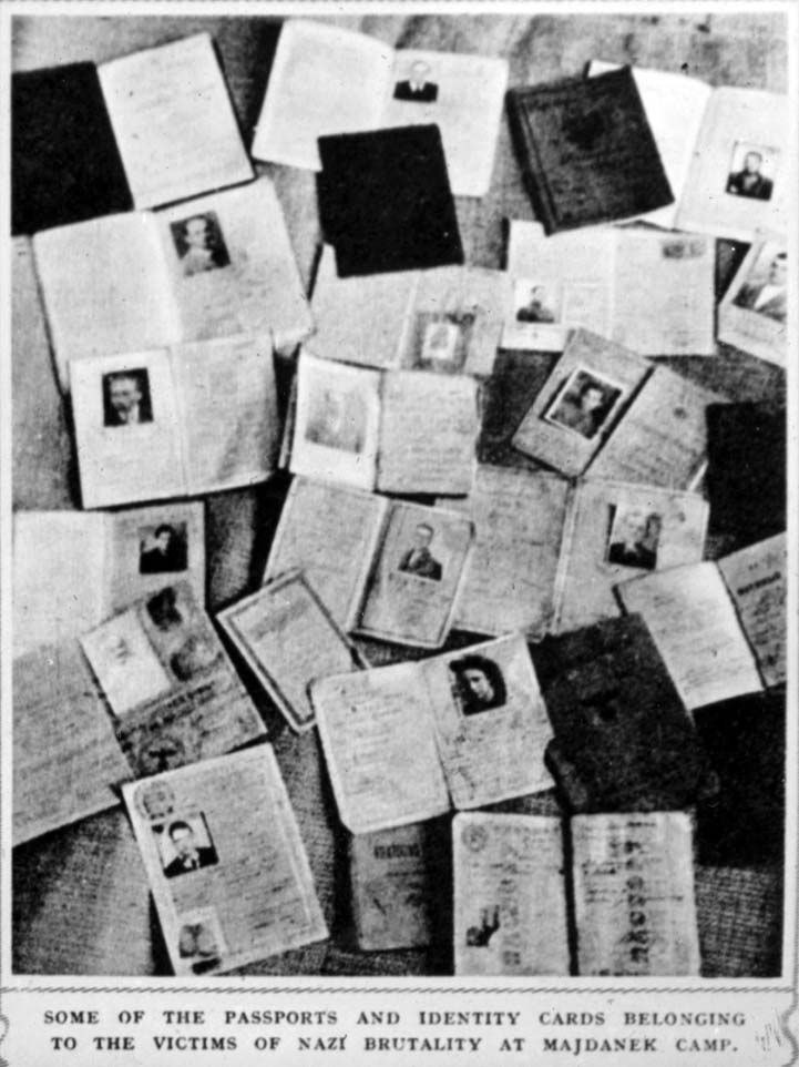 Majdanek, Poland, Identity cards of victims in the camp, July 1944. World War Two