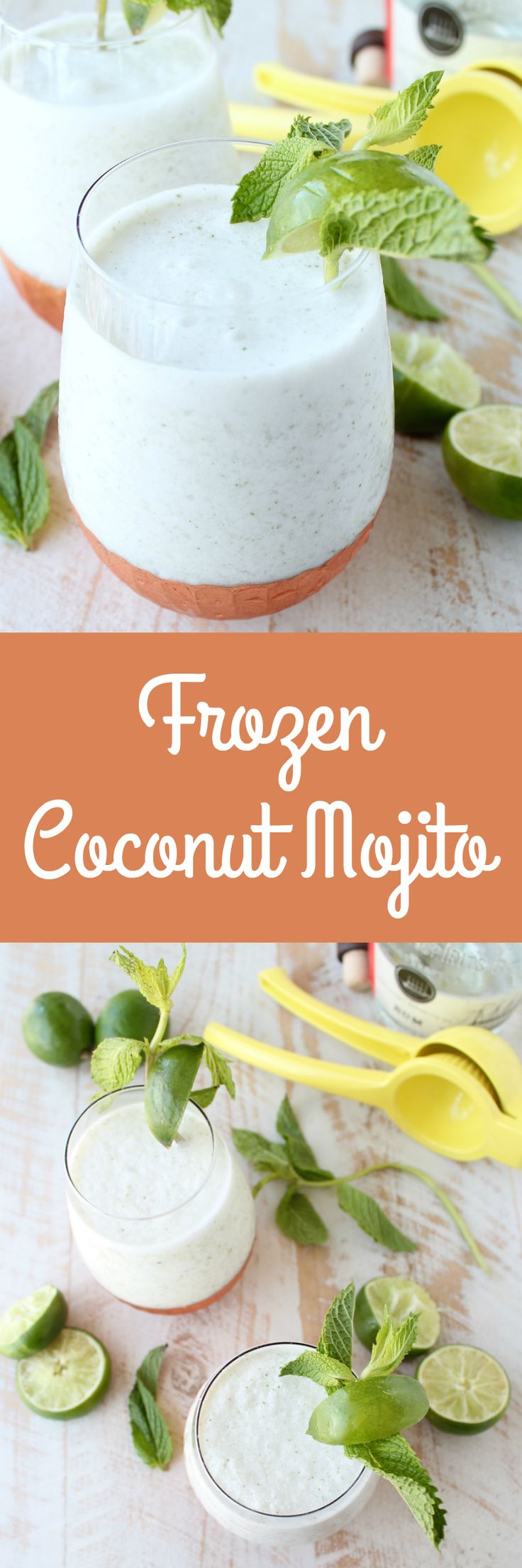 The mojito, a traditional Cuban cocktail, is given a summer twist in this Frozen Coconut Mojito Recipe, perfect for sipping poolside or at a BBQ served in World Market Copper Stemless Wine Glasses! #WorldMarketTribe