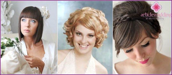 Bröllop frisyrer för kort hår 2015 bild - med en slöja och en smäll, tiara och blommor