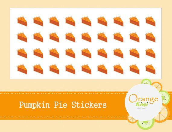 Pumpkin Pie Stickers  Thanksgiving Stickers  by OrangeKiwiDesign