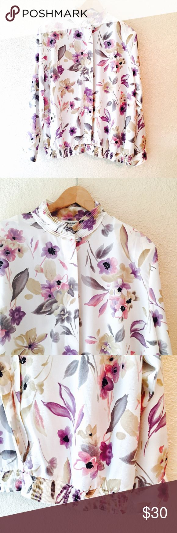 Vintage floral print blouse bomber top shirt 22 W This is a really cool vintage shirt from Alfred Dunner. It's a white blouse with a cool floral print that's mostly purple and pink hues. It's a women's 22, but actually this looks amazing on all sizes. I am a small/medium and it has a cool bomber feel that's oversized. The elastic waist keeps it more fitted. And I'm sure it would be great as a blouse as it was intended too ;) has shoulder pads that can be easily removed. In excellent vintage…