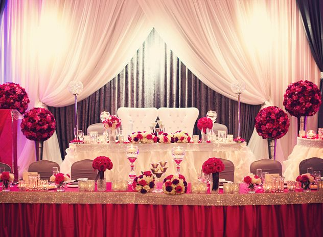 Red Wedding Head Table Decor