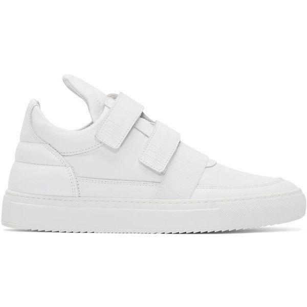 Filling Pieces White Double Straps Sneakers ($221) ❤ liked on Polyvore featuring men's fashion, men's shoes, men's sneakers, white, mens nubuck shoes, mens velcro sneakers, mens velcro strap sneakers, mens white velcro shoes and mens velcro strap shoes