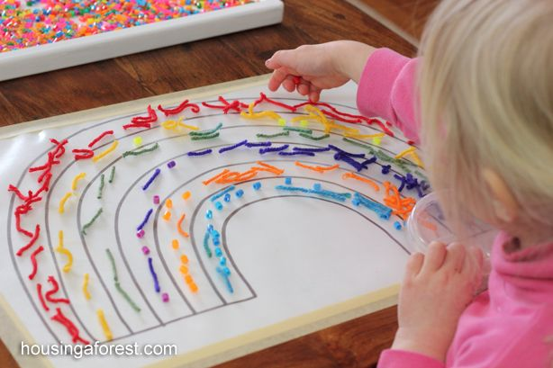 Sorting the Rainbow ~ Fun spring activity.  I love all the bright colors, and textures.