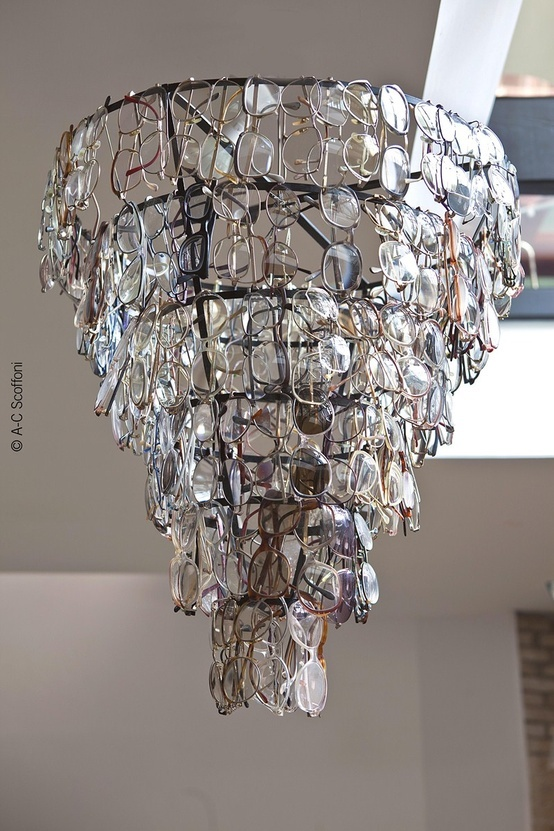 Chandelier made of old glasses