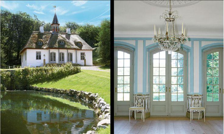 Sagolika Liselund som uppfördes 1792 av den franska adelsmannen Antoine de Bosc de la Calmette. Till höger Trädgårdssalen med franska fönster.