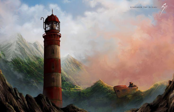 Remember the Ocean ?, Gary Jensen on ArtStation at https://www.artstation.com/artwork/remember-the-ocean #art #digitalart #digitalpainting #mountians #conceptart #environments #fantasy #illustration #lighthouse #colours #light #ocean #sky