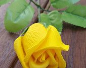 A single scented SOAP rose, flower soap, wedding decoration, wedding guest gifts, yellow flowers, artificial flowers, soap flowers, bathroom