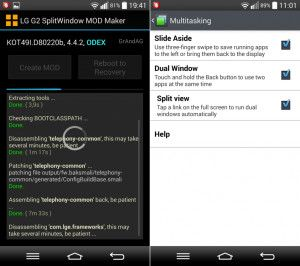 LG G2 Mod Enables SplitWindow on any Android 4.4 KitKat Update ROM