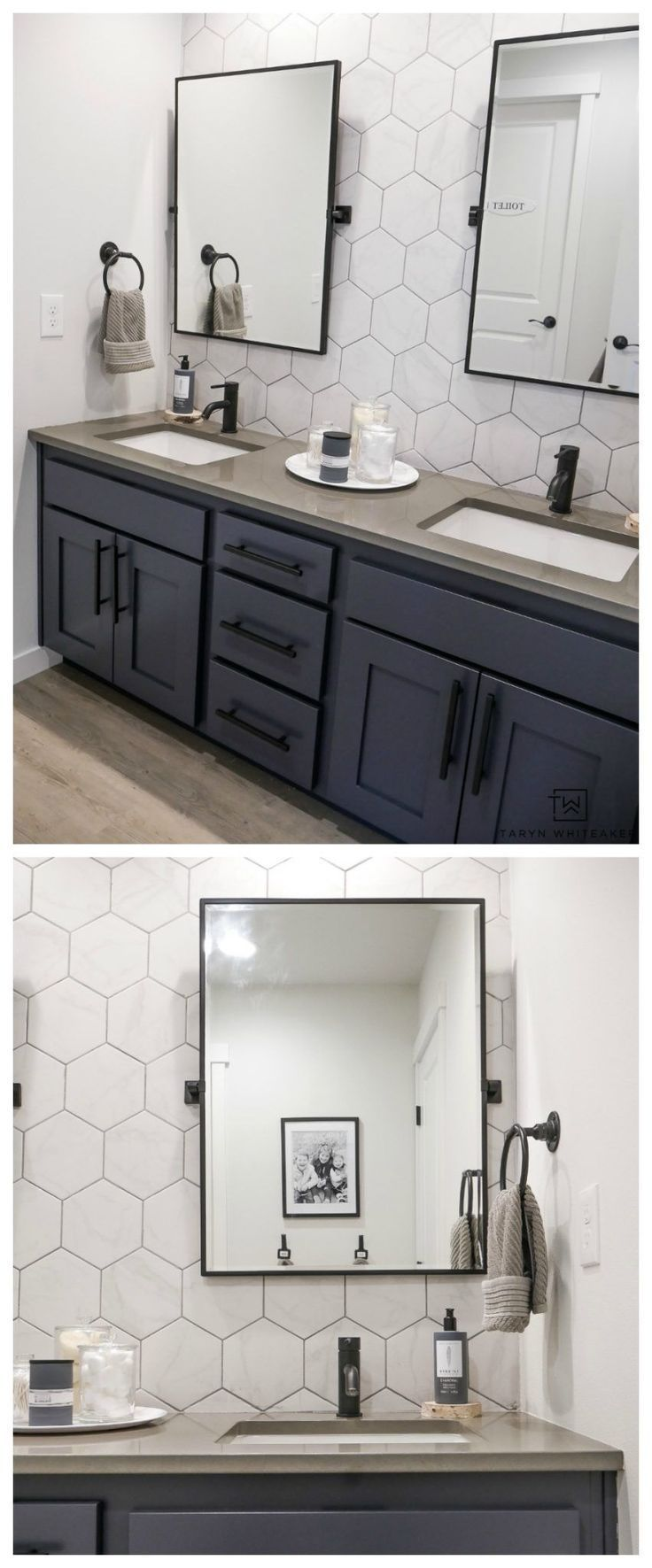 Come See What This Bathroom Looked Like Before This Double Sink Vanity Was Just A Bas In 2020 Bathroom Cabinet Makeover Bathroom Cabinets Diy Bathroom Vanity Makeover