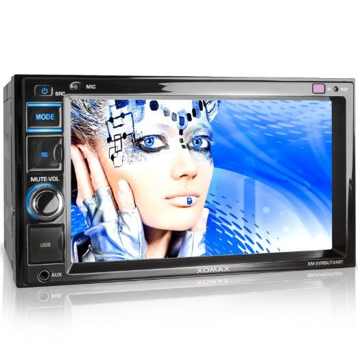 """XOMAX XM-2VRSU734BT Autoradio con Bluetooth vivavoce e riproduzione musicale + schermo touchscreen 6,2"""" / 16 cm + 2x Porta USB & Slot Micro SD/SDHC (entrambe fino a 128 GB!) per MP3, WMA, AVI, DIVX etc. + LED Colori: blu + Entrata AUX IN + Ingresso per telecamera posteriore + Dimensioni standard doppio DIN / 2 DIN + Telecomando e cornice metallica esterna inclusi"""