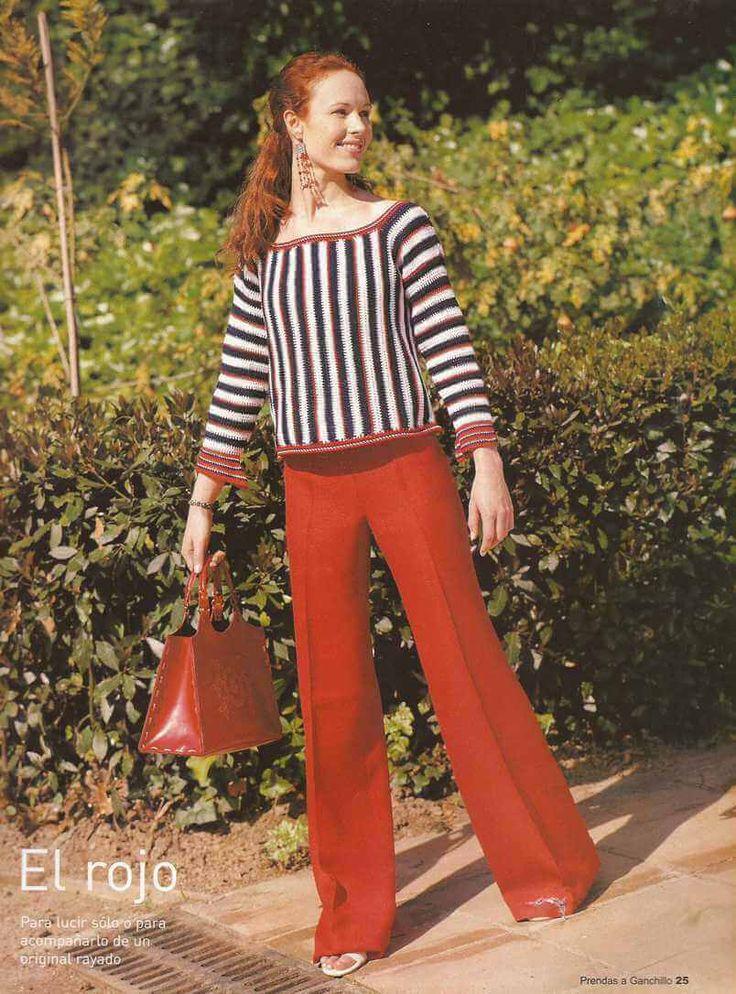 Patrón #6: Blusa Rayada a Crochet:  https://ctejidas.co/patron-6-blusa-rayada-crochet/
