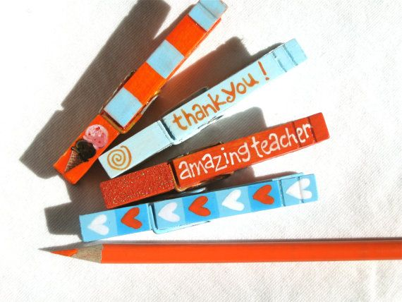 FAVORITE TEACHER CLOTHESPINS hand painted by SugarAndPaint on Etsy, $12.00