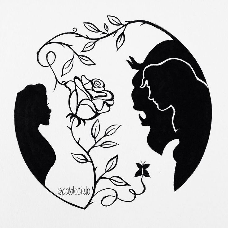 Beauty and the Beast [Pen on white sketchbook] Completed on September 28 2014  Original fanart concept. One of my favourite silhouette artwork by pablocielo