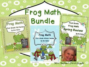 This triple pack includes a review of all of the First Grade Math Common Core Standards!  First Grade Math {Frog Math} A Fall Math Review, First Grade Math {Frog Math} A Winter Math Review, and First Grade Math {Frog Math} A Spring Math Review Purchase all three of these products together and SAVE over the price of purchasing them individually