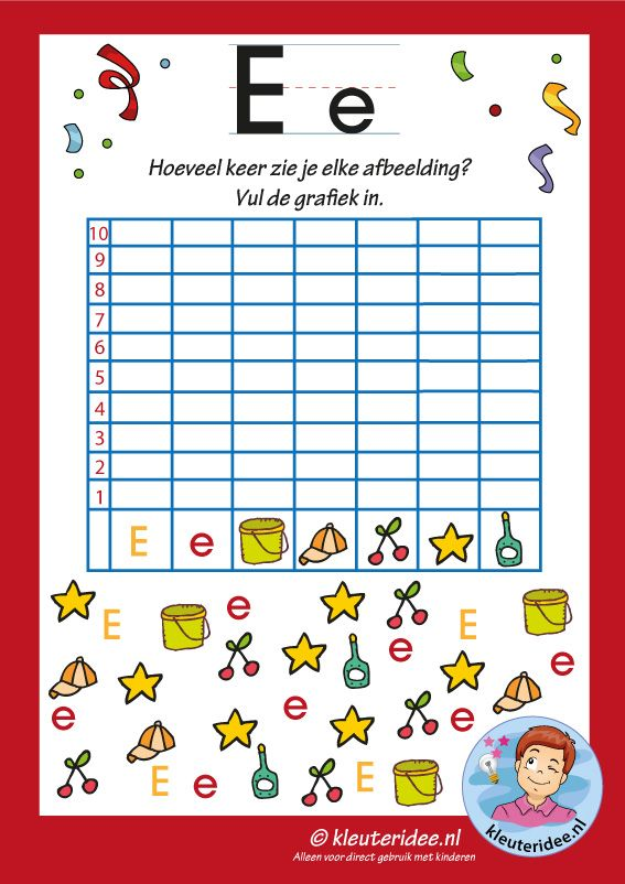 Pakket over de letter e blad 14, grafiek met de letter e, letters aanbieden aan kleuters, kleuteridee, free printable.