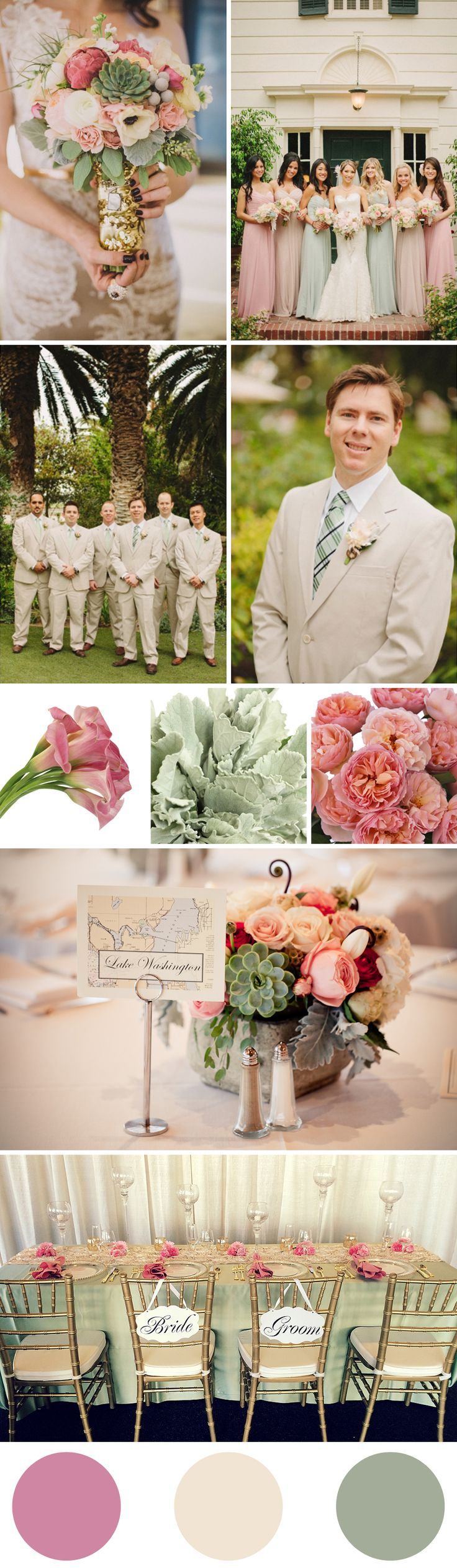 Wedding Color Palette - Cashmere Rose, Pearled Ivory and Desert Sage
