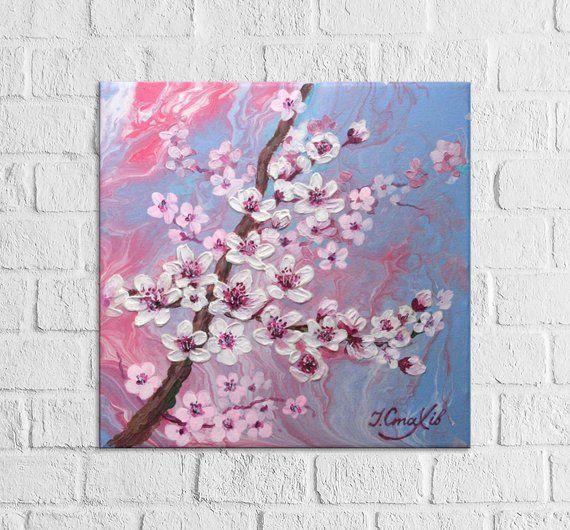 Cherry Blossom Painting On Canvas Original Artwork Flower Etsy Cherry Blossom Painting Cherry Blossom Painting Acrylic Cherry Blossom Art