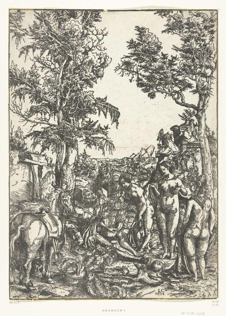 Lucas Cranach (I) | Oordeel van Paris, Lucas Cranach (I), 1508 | Mercurius wekt de slapende Paris zodat hij kan beslissen welke van de drie godinnen Juno, Minerva of Venus de mooiste is. De vrouwen zijn hier niet door attributen van elkaar te onderscheiden.