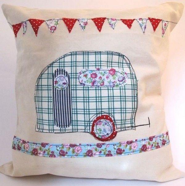 Handmade cushion - caravan and bunting  Oh my!