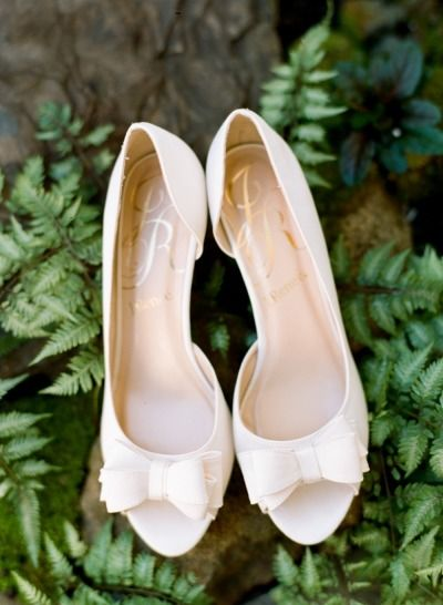 Ivory bow wedding shoes: http://www.stylemepretty.com/little-black-book-blog/2015/01/05/romantic-autumn-fearrington-village-wedding/ | Photography:  Faith Teasley - http://www.faithteasley.com/