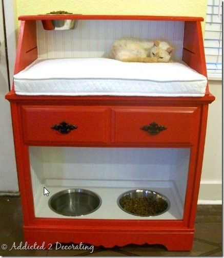 """Perfect for families who have cats and dogs.  @Karen Jacot's Floral Artistry Kroemer-Spiess....  I think you need to make one of these for the house!   Drawer for all the """"stuff"""" and no more tripping over dog food bowls? Ummm... but maybe a bigger one? More kitty pillow & food space. Or  Maybe another one to be side by side with storage for food bags/bins and another kitty shelf. :-)"""